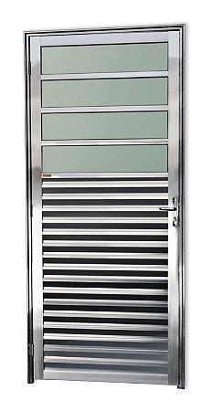 Porta de Cozinha 4 Vidros Fixos em Alumínio Brilhante c/ Vidro Mini Boreal - Brimak Super 25
