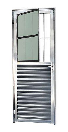 Porta de Sala Social c/ Grade em Alumínio Brilhante c/ Vidro Mini Boreal - Brimak L-25