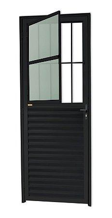 Porta de Sala Social c/ Grade em Alumínio Preto c/ Vidro Mini Boreal - Brimak L-25