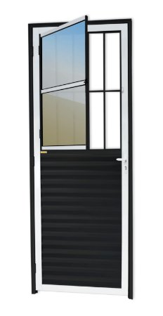 Porta de Sala Social c/ Grade em Alumínio Mix Preto c/ Vidro Mini Boreal - Brimak L-25