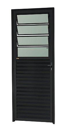 Porta C/ Basculante em Alumínio Preto C/ Vdr. Mini Boreal - BRIMAK L-25