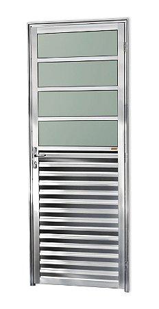 Porta de Cozinha 4 Vidros Fixos em Alumínio Brilhante c/ Vidro Mini Boreal - Brimak L-25