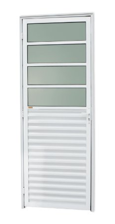 Porta de Cozinha 4 Vidros Fixos em Alumínio Branco c/ Vidro Mini Boreal - Brimak L-25