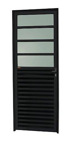 Porta de Cozinha 4 Vidros Fixos em Alumínio Preto c/ Vidro Mini Boreal - Brimak L-25