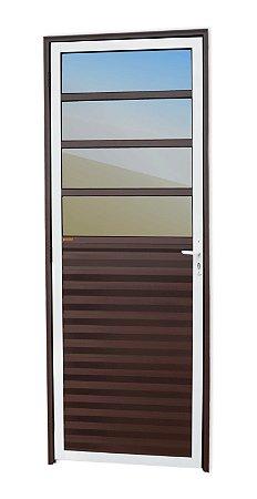 Porta de Cozinha 4 Vidros Fixos em Alumínio Mix Corten c/ Vidro Mini Boreal - Brimak L-25