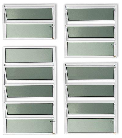 Basculante 1 Seção em Alumínio Branco c/ Vidro Mini Boreal - Brimak Plus