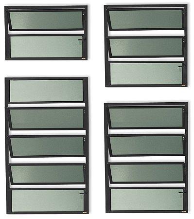 Basculante 1 Seção em Alumínio Preto c/ Vidro Mini Boreal - Brimak Plus