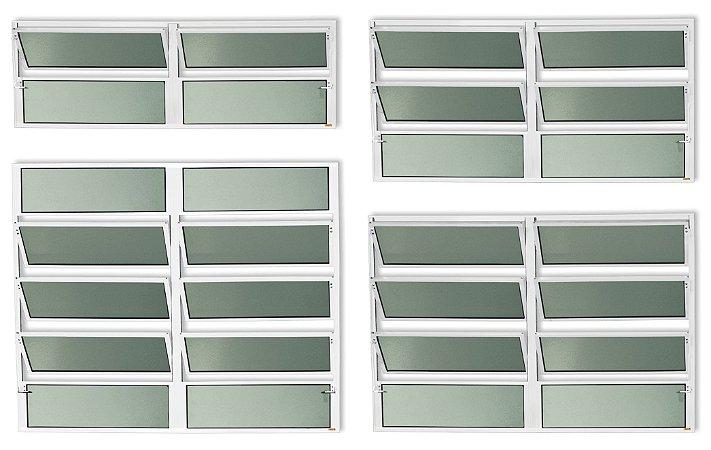 Basculante 2 Seções em Alumínio Branco c/ Vidro Mini Boreal - Brimak Plus