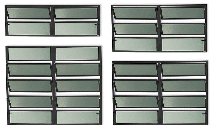 Basculante 2 Seções em Alumínio Preto c/ Vidro Mini Boreal - Brimak Plus