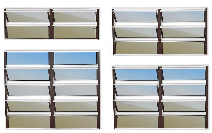Basculante 2 Seções em Alumínio Mix Corten c/ Vidro Mini Boreal - Brimak Plus