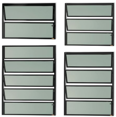 Basculante 1 Seção em Alumínio Preto c/ Vidro Mini Boreal - Brimak Master