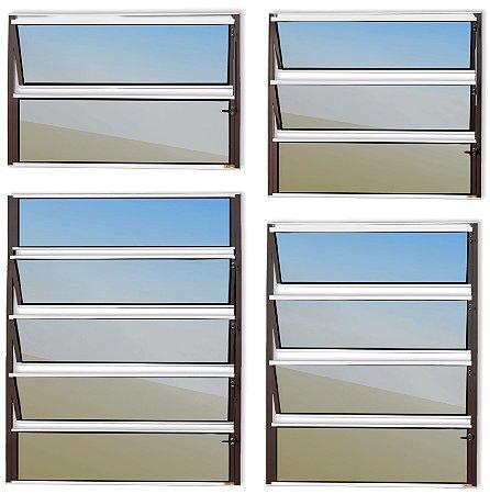 Basculante 1 Seção em Alumínio Mix Corten c/ Vidro Mini Boreal - Brimak Master