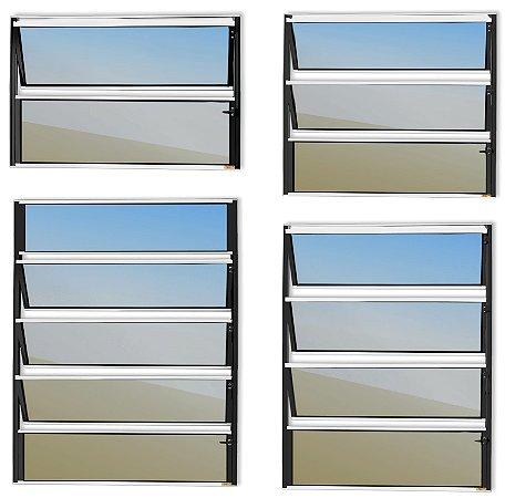 Basculante 1 Seção em Alumínio Mix Preto c/ Vidro Mini Boreal - Brimak Master