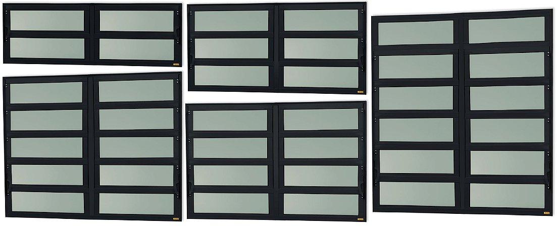 Basculante 2 Seções em Alumínio Preto c/ Vidro Mini Boreal - Brimak Elite