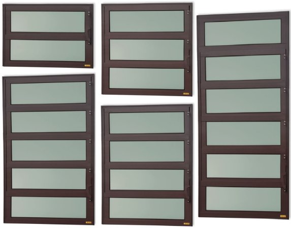 Basculante 1 Seção em Alumínio Corten c/ Vidro Mini Boreal - Brimak Elite