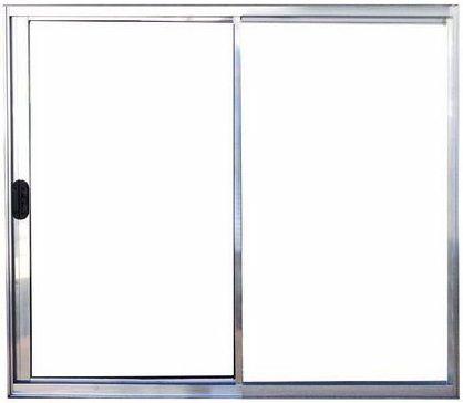 Janela de Correr 2 Fls Sem Bandeira Sem Grade Alumínio Brilhante - SPJ Modular