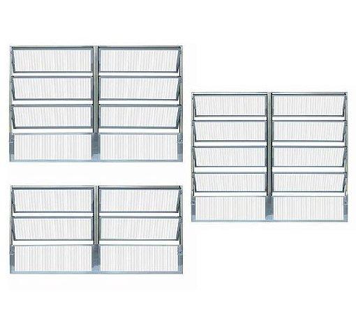 Janela Basculante em Alumínio Brilhante duas Seções Vidro Canelado - Esap