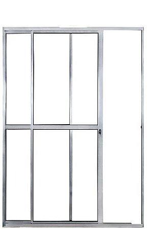 Porta de Correr em Alumínio Brilhante 2 Folhas Uma Fixa Vidro Liso Com Fechadura - Linha Max Lux Esquadrias