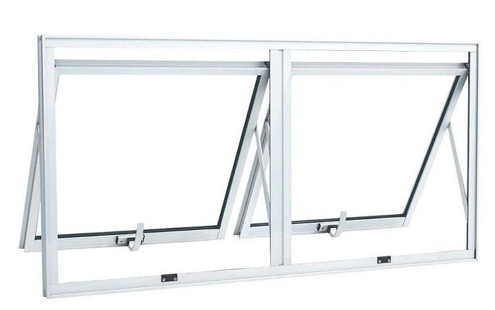 Janela Maxim-ar em Alumínio Branco duas Seções Horizontal Vidro Mini Boreal - Linha 25 Top Esquadrisul