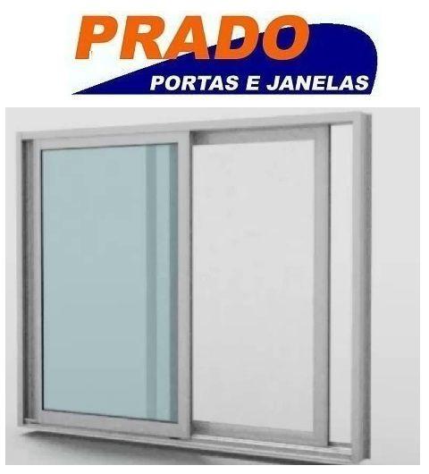 Janela de Correr em Alumínio Branco 2 Folhas Móvies com Tela Mosqueteira Vidro Liso Incolor - Linha Boldie Prado