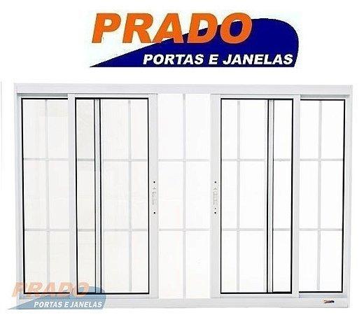 Janela de Correr em Alumínio Branco 4 Folhas com Grade Vidro Liso Incolor - Linha Boldie Prado