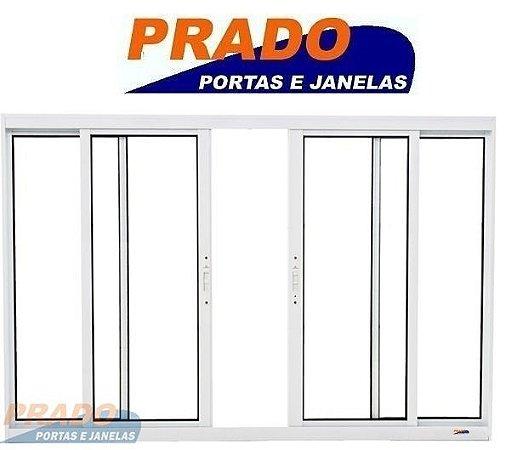 Janela de Correr em Alumínio Branco 4 Folhas Com Tela Mosqueteira Vidro Liso Incolor - Linha Boldie Prado
