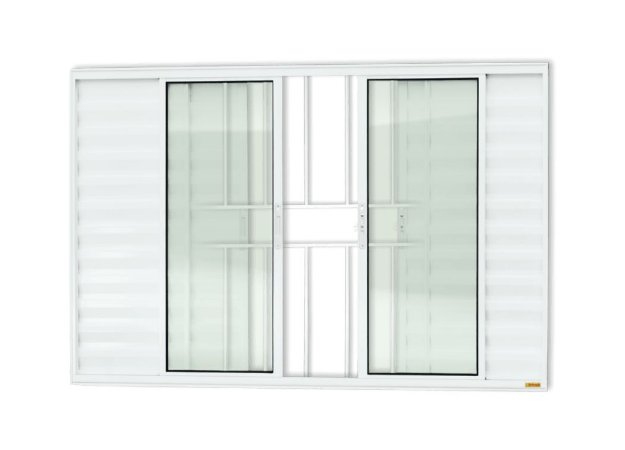 Veneziana 6 Folhas c/ Grade em Alumínio Branco c/ Vidro Liso - Brimak Confort