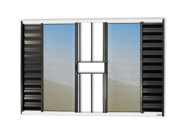 Veneziana 6 Folhas c/ Grade em Alumínio Mix Preto c/ Vidro Liso - Brimak Confort