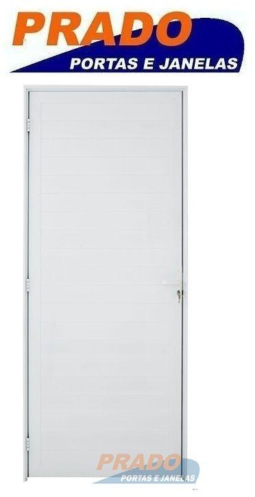 Porta De Abrir (Giro) em Alumínio Branco Com Lambril - Linha Boldie Prado