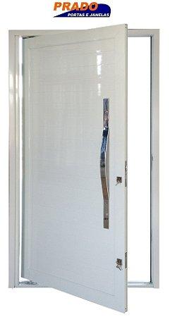 Porta Pivotante (Giro) em Alumínio Branco Lambri Com Puxador  - Linha Patrimony Prado
