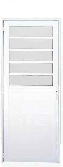 Porta De Abrir (Giro) em Alumínio Branco Com Travessa e Lambril Vidro Mini Boreal - Linha Premium Lux Esquadrias