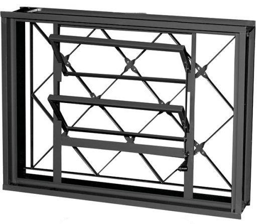 Janela Basculante em Aço com Grade Xadrez Sem Vidro - Requadro 12 cm - Linha Prata Gerotto