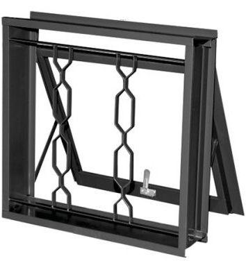 Janela Maxim-Ar em Aço uma Seção com Grade Elo sem Vidro - Requadro 12 cm - Linha Prata Gerotto