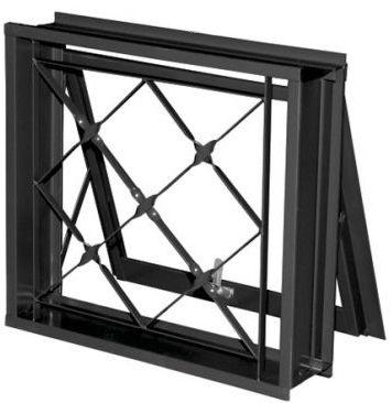 Janela Maxim-Ar em Aço uma Seção com Grade Xadrez sem Vidro - Requadro 12 cm - Linha Prata Gerotto