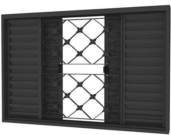 Janela Veneziana em Aço 4 Folhas Com Grade Xadrez Sem Folha para Vidro - Requadro 12 cm - Linha Prata Gerotto