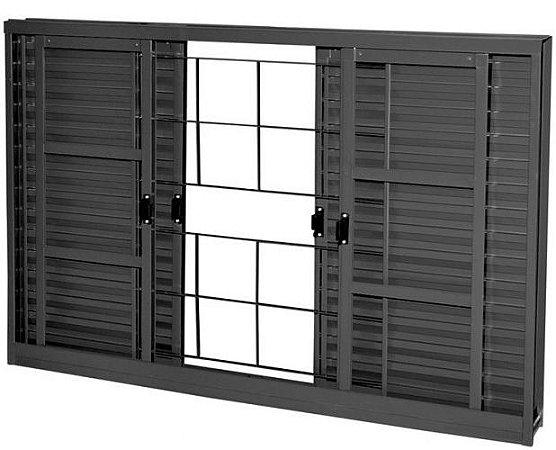 Janela Veneziana em Aço 6 Folhas Com Grade Quadriculado Com Folha para Vidro - Requadro 12 cm - Linha Prata Gerotto