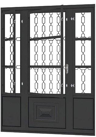 Porta de Abrir Seteira Dupla em Aço com Postigo Grade Elo sem Vidro com Fechadura Requadro 12 cm - Linha Ouro Gerotto