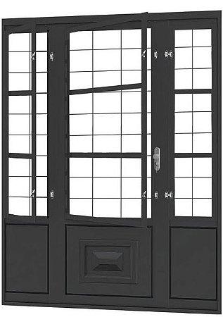 Porta de Abrir Seteira Dupla em Aço com Postigo Grade Quadriculado sem Vidro com Fechadura Requadro 12 cm - Linha Ouro Gerotto