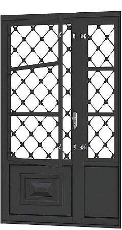 Porta de Abrir Seteira Simples em Aço com Postigo Grade Xadrez sem Vidro com Fechadura Requadro 12 cm - Linha Ouro Gerotto