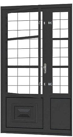 PRONTA ENTREGA - Porta de Abrir Seteira Simples em Aço com Postigo Grade Quadriculado sem Vidro com Fechadura Requadro 12 cm - Linha Ouro Gerotto