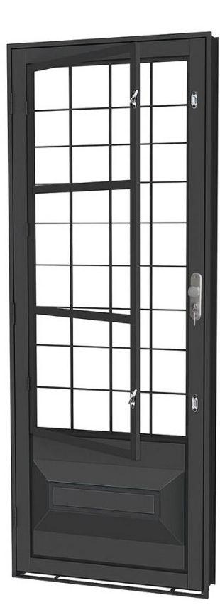 Porta de Abrir Social Almofada em Aço com Postigo Grade Quadriculado sem Vidro com Fechadura - Requadro 12 cm - Linha Prata Gerotto