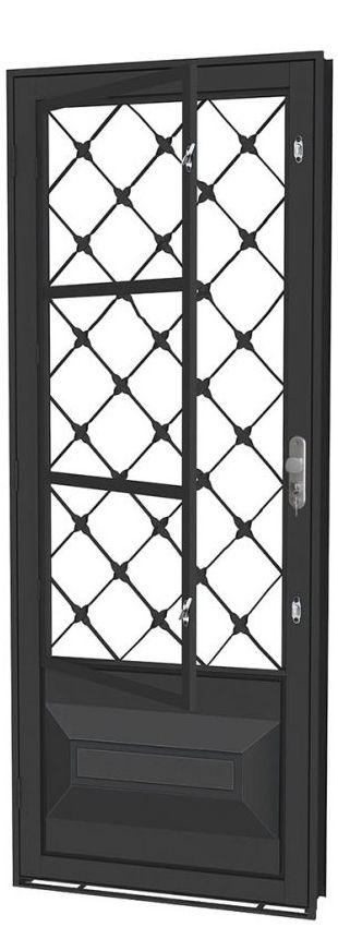 Porta de Abrir Social Almofada em Aço com Postigo Grade Xadrez sem Vidro com Fechadura - Requadro 12 cm - Linha Prata Gerotto