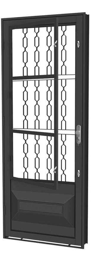 Porta de Abrir Social Almofada em Aço com Postigo Grade Elo sem Vidro com Fechadura - Requadro 12 cm - Linha Prata Gerotto