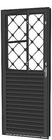 Porta de Abrir Social Mista  em Aço com Postigo Grade Xadrez sem Vidro com Fechadura - Requadro 12 cm - Linha Prata Gerotto