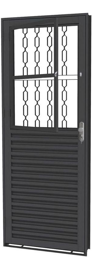 Porta de Abrir Social Mista  em Aço com Postigo Grade Elo sem Vidro com Fechadura - Requadro 12 cm - Linha Prata Gerotto
