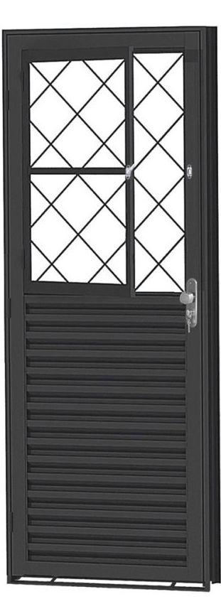 Porta de Abrir Social Mista  em Aço com Postigo Grade Tubular sem Vidro com Fechadura - Requadro 12 cm - Linha Prata Gerotto