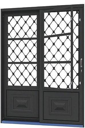 Porta de Correr em Aço 2 Folhas com Postigo Grade Xadrez sem Vidro com Fechadura - Requadro 12 cm - Linha Ouro Gerotto