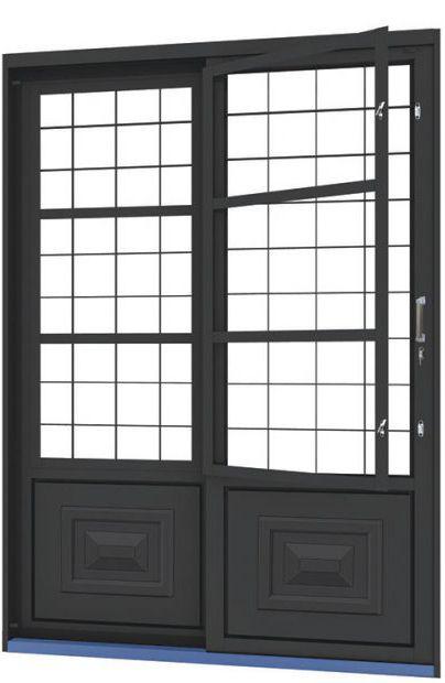 Porta de Correr em Aço 2 Folhas com Postigo Grade Quadriculado sem Vidro com Fechadura - Requadro 12 cm - Linha Ouro Gerotto