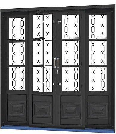 Porta de Correr em Aço 4 Folhas com Postigo Grade Elo sem Vidro com Fechadura - Requadro 12 cm - Linha Ouro Gerotto