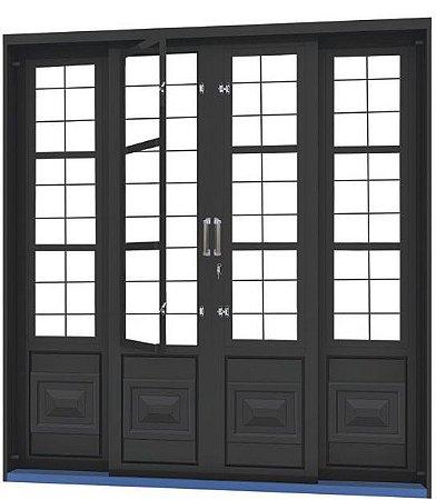 Porta de Correr em Aço 4 Folhas com Postigo Grade Quadriculado sem Vidro com Fechadura - Requadro 12 cm - Linha Ouro Gerotto